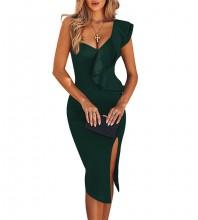 Over Knee Green One Shoulder Sleeveless Frill Slit Bandage Dress PM1205-Green