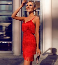 Red Tassels Mini Sleeveless Strapy Bandage Dress PM1206-Red