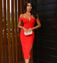 Red Slit Striped Over Knee Short Sleeve Strappy Bandage Dress PM1208-Red
