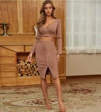 Brown Exposed Waist Slit Knee length Long Sleeve V Neck Bandage Dress PM1211-Brown