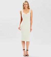White Plain Striped Midi Sleeveless Strappy Bandage Dress PM21501-White