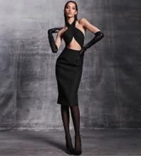 Black Backless Cut Out Midi Sleeveless Halter Bandage Dress PM21504-Black
