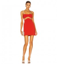 Red Backless Hollow out Mini Sleeveless Strappy Bandage Dress PM21512-Red