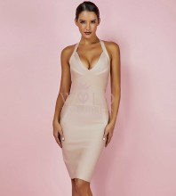 Nude Halter Sleeveless Mini Fashion Bandage Dress PP0601-Nude