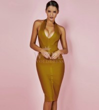 Yellow Halter Sleeveless Knee Length Backless Stripped Sexy Bandage Dress PP0607-Yellow
