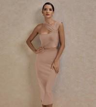 Apricot Distinctive Cut Out Midi Sleeveless Strappy Bandage Dress PP091406-Apricot