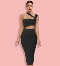 Black Cut Out Asymmetrical Over Knee Sleeveless Strappy Bandage Dress PP091406-Black