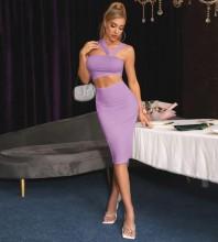 Lilac Distinctive Cut Out Midi Sleeveless Strappy Bandage Dress PP091406-Lilac
