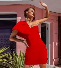 Red Asymmetrical Frill Mini Short Sleeve One Shoulder Bandage Dress PP091408-Red