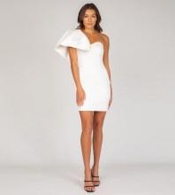 White Plain Frill Mini Sleeveless One Shoulder Bandage Dress PP091408-White