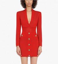 Red Zipper Metal Ornamental Buckle Mini Long Sleeve V Neck Bandage Dress PP091409-Red