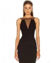 Black Distinctive Mesh Mini Sleeveless Round Neck Bandage Dress PP091425-Black