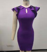 Purple Frill Lace Midi Sleeveless Round Neck Bandage Dress PP091432-Purple