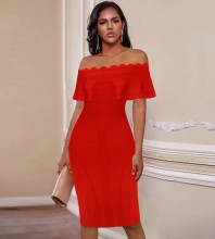 Red Striped Frill Midi Short Sleeve Off Shoulder Bandage Dress PP091803-Red