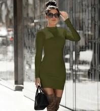 Green Zipper Plain Mini Long Sleeve High Neck Bandage Dress PP091807-Green