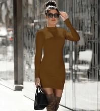 Khaki Zipper Plain Mini Long Sleeve High Neck Bandage Dress PP091807-Khaki