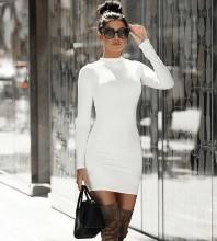 White Zipper Plain Mini Long Sleeve High Neck Bandage Dress PP091807-White
