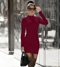Wine Zipper Plain Mini Long Sleeve High Neck Bandage Dress PP091807-Wine