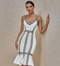 White Striped Frill Midi Sleeveless Strappy Bandage Dress PP091808-White