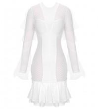 White Frill Plaid Mini Long Sleeve Round Neck Bandage Dress PP091809-White