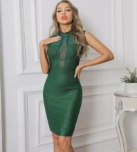 Green Striped Mesh Mini Sleeveless High Neck Bandage Dress PP091906-Green