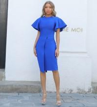 Blue Distinctive Frill Midi Short Sleeve Round Neck Bandage Dress PP091908-Blue