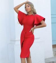Red Slit Frill Midi Short Sleeve Round Neck Bandage Dress PP091908-Red