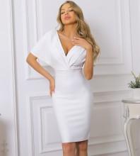 White Distinctive Bubble Beads Midi Short Sleeve V Neck Bandage Dress PP091909-White