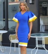 Blue Distinctive Frill Midi Short Sleeve V Neck Bandage Dress PP091911-Blue