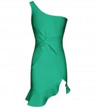 Green Frill Asymmetrical Mini Sleeveless One Shoulder Bandage Dress PP091914-Green