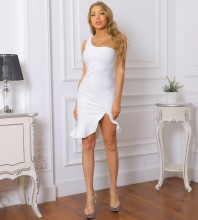White Frill Asymmetrical Mini Sleeveless One Shoulder Bandage Dress PP091914-White