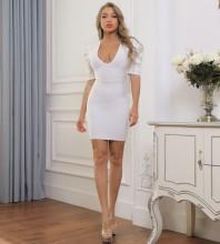 White Frill Backless Mini Mid Sleeve V Neck Bandage Dress PP091915-White
