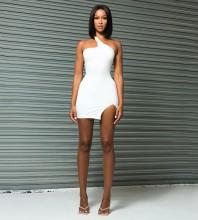 White Slit Backless Mini Sleeveless One Shoulder Bandage Dress PP091916-White