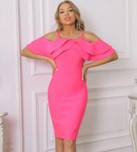 Rose Slit Frill Midi Short Sleeve Strappy Bandage Dress PP091918-Rose
