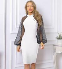 White Distinctive Puff Sleeve Midi Long Sleeve Round Neck Bandage Dress PP091919-White