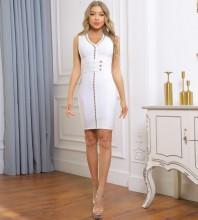 White Striped Metal Ornamental Buckle Mini Sleeveless V Neck Bandage Dress PP091920-White