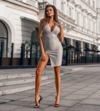 Gray Striped Slit Mini Sleeveless V Neck Bandage Dress PP09200-Gray