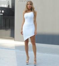 White Crystal Asymmetrical Mini Sleeveless One Shoulder Bandage Dress PP092001-White