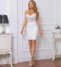 White Backless Lace Mini Sleeveless Strappy Bandage Dress PP092008-White