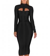 Black Cutout Striped Over Knee Long Sleeve High Neck Bandage Dress PP1103-Black