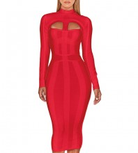 Red Cutout Striped Over Knee Long Sleeve High Neck Bandage Dress PP1103-Red