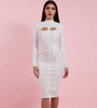 White High Neck Long Sleeve Knee Length Cut Out Fashion Bandage Dress PP1103-White