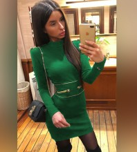 Green Round Neck Long Sleeve Mini Metal Studded Fashion Bandage Dress PP1110-Green