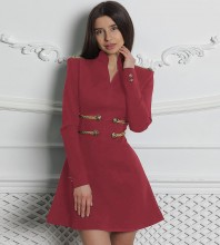 Wine Long Sleeve Mini Metal Studded Fashion Bandage Dress PP1113-Wine