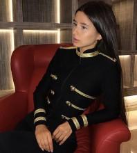 Black Round Neck Long Sleeve Mini Metal Studded Fashion Bandage Jacket PP1115-Black