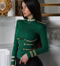 Green Round Neck Long Sleeve Mini Metal Studded Fashion Bandage Jacket PP1115-Green