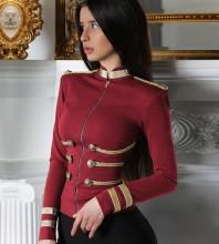 Wine Round Neck Long Sleeve Mini Metal Studded Fashion Bandage Jacket PP1115-Wine