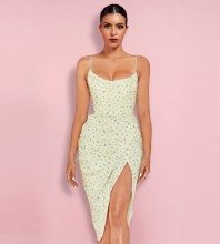 Yellow Wrinkled Floral Midi Sleeveless Strappy Bandage Dress PP1155-Yellow