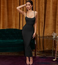 Black Strappy Sleeveless Maxi Bandage Dress PP1204-Black
