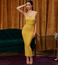 Ginger Strappy Sleeveless Max Bottom Slitted Plain Wholesale Bandage Dress PP1204-Ginger